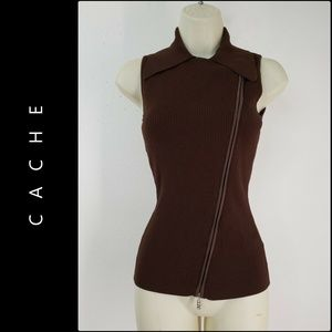 Cache Women Sleeveless Knit Blouse Small Brown